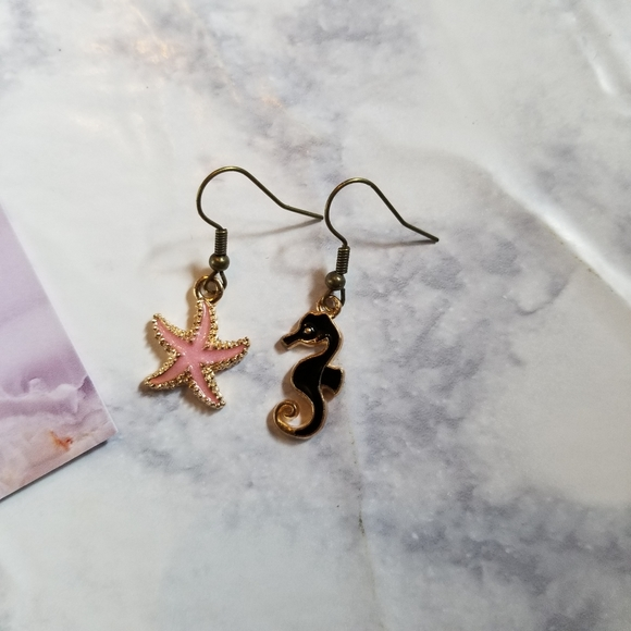 Hand Crafted Jewelry - OCEAN TIME   Enamel Earrings Stainless Steel Cute